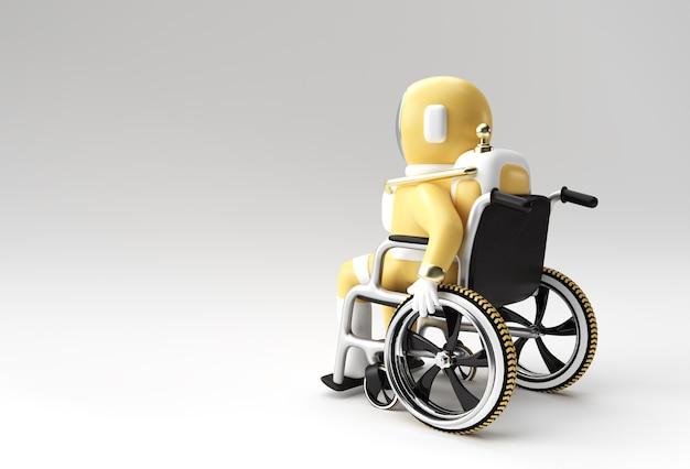 3d render spaceman astronauta siedzi na wózku inwalidzkim ilustracja 3d design.