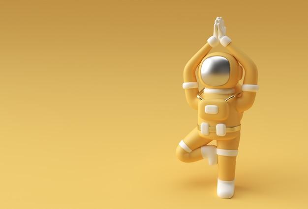 3d render spaceman astronauta stojący wdzięczny namaste yoga pose 3d ilustracja projekt.