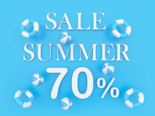 3d render sprzedaż lato siedemdziesiąt procent biały tekst z piłkami plażowymi unoszącymi się na niebieskim tle