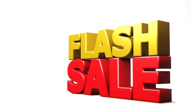 3d render sprzedaży flash na białym tle. ilustracja 3d