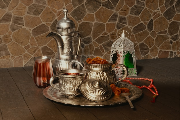 3d render srebrnych naczyń z tasbih (różaniec) i arabskiej latarni