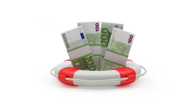 3d render sto euro rachunki wewnątrz koła ratunkowego na białym tle