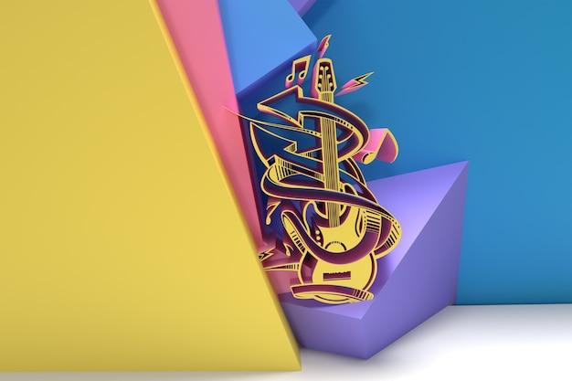 3d render streszczenie muzyka guitar banner ulotka plakat ilustracja 3d design.