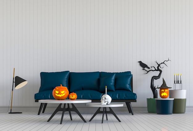 3d render strona halloween w salonie z dyni