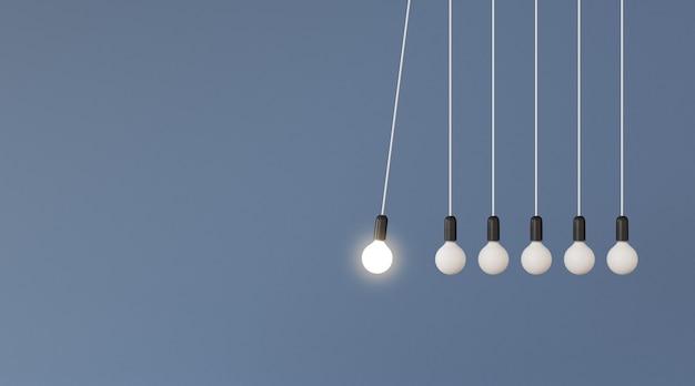 3d render światła blub w koncepcji wahadła.