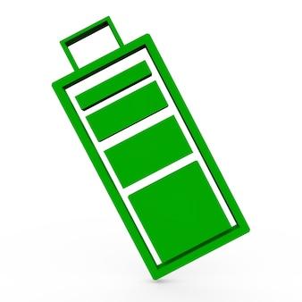 3d render symbol pełnej baterii biały na białym tle