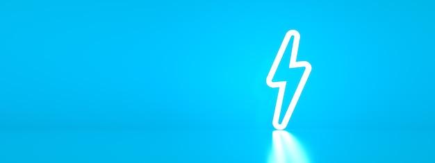 3d render symbolu energii elektrycznej na niebieskim tle, obraz panoramiczny