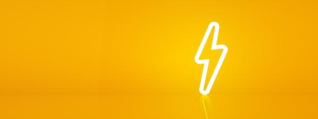 3d render symbolu energii elektrycznej na pomarańczowym tle, obraz panoramiczny
