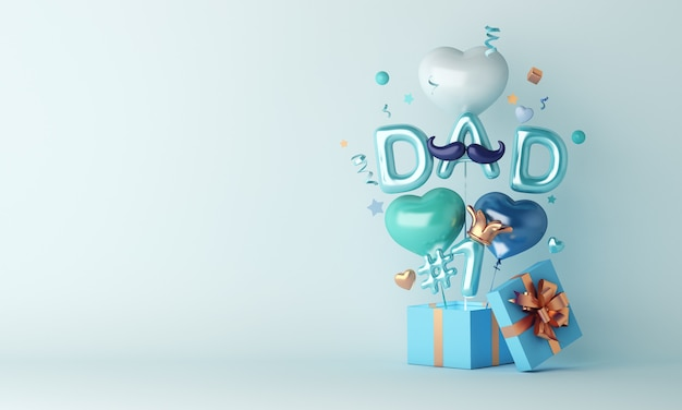 3d render szczęśliwa dekoracja dnia ojca z balonami i pudełkami prezentowymi na jasnoniebieskim tle