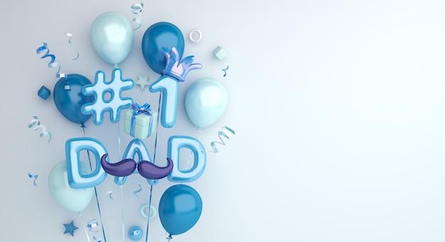 3d render szczęśliwa dekoracja dnia ojca z balonami na jasnoniebieskim tle