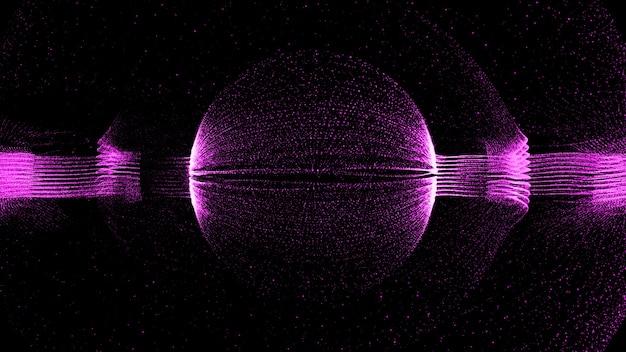3d render technologii partykularne tło. abstrakcyjna forma cząstek z formą kuli w centrum.