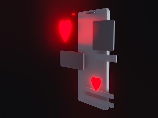 3d render telefonu z podobnym symbolem. przeczytaj serce. związek online, aplikacja randkowa