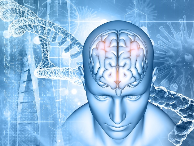 3d render tła medycznego z męskich i mózgowych, nici dna i komórek wirusa