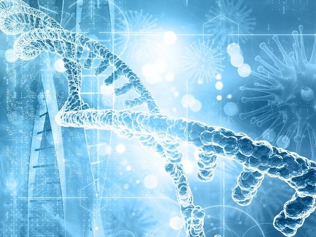 3d render tła medycznego z nici dna i komórek wirusa