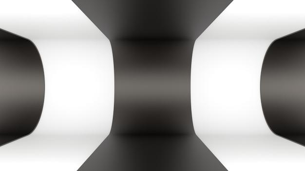 3d render tła tapeta metal czarny biały koła podłoga tunel głębokość światła