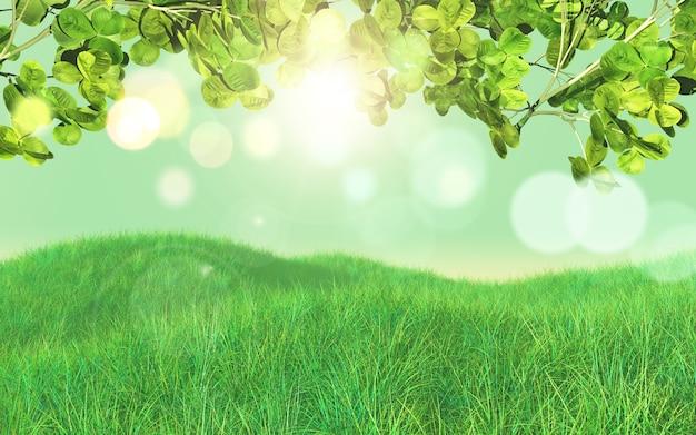 3d render tle trawy i liści