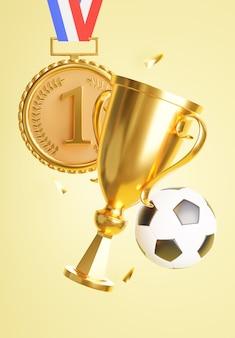 3d render trofeum ze złotym medalem dla koncepcji zwycięzcy