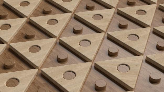 3d render trójkąta. geometryczne tło. drewniane tekstury.
