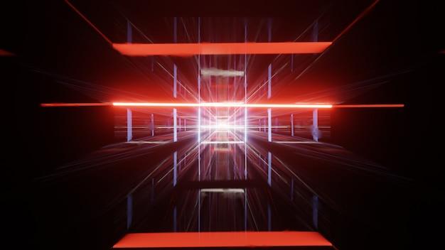 3d render tunelu, niebiesko-czerwone różowe widmo, fluorescencyjne światło ultrafioletowe, nowoczesne kolorowe oświetlenie. abstrakcyjne tło.