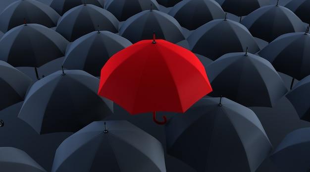 3d render unikalny czerwony parasol wśród wielu ciemnych.