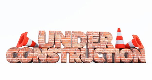 3d render w budowie z szyszkami drogowymi na białym tle