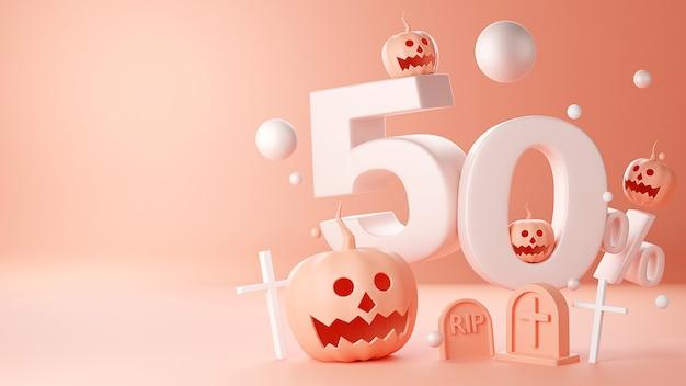 3d render wesołego halloween, dyniowego gniazda głowy