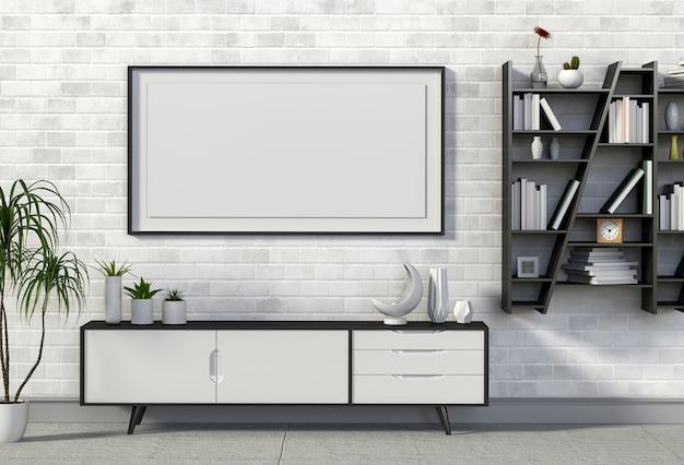 3d render wnętrza salonu z kredensu