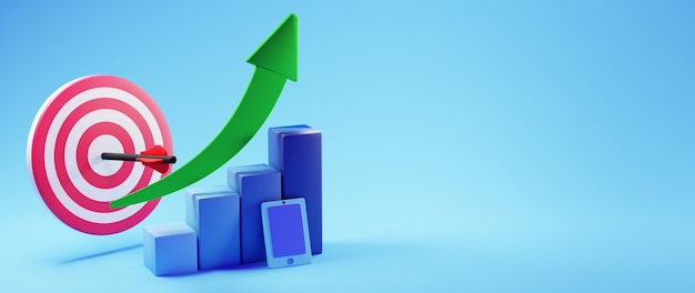 3d render wykresu słupkowego i telefonu komórkowego. biznes online mobilny i e-commerce.