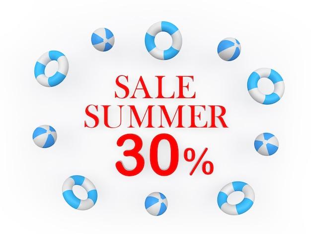 3d render wyprzedaż lato trzydzieści procent czerwony tekst z piłkami plażowymi unoszącymi się na białym tle