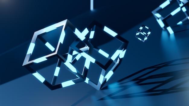 3d render z blochain cobes w neonowym niebieskim świetle. koncepcja dużych zbiorów danych. sztuczna inteligencja. abstrakcyjny