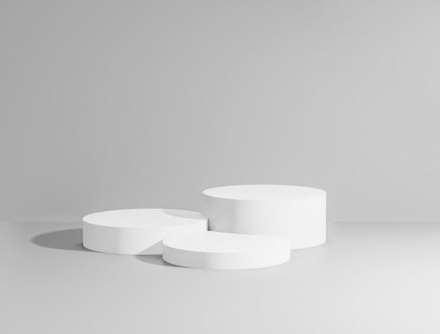 3d render z całkowitych białych podium dla produktów.