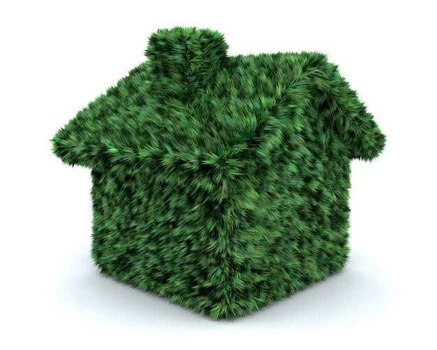 3d render z domu pokryte trawa samodzielnie na białym tle