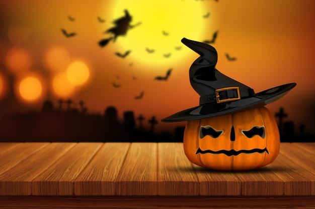 3d render z dyni na halloween na drewnianym stole z defocussed upiorny cmentarz obrazem w tle
