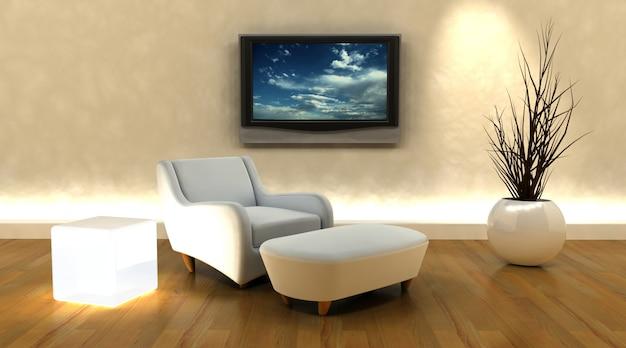 3d render z kanapą i telewizorem na ścianie