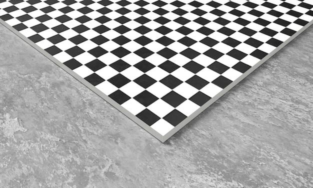3d render z kwadratowych płytek chodnikowych w szarym kamieniu betonowym