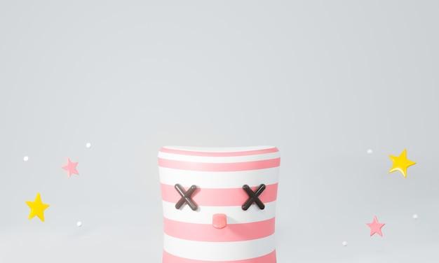 3d render z marshmallow cake candy display podium z gwiazdą.