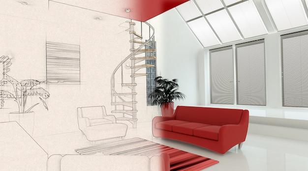 3d render z nowoczesnym wnętrzem z czego połowa w fazie szkicu