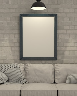 3d render z pustej ramki obrazu na ścianie