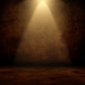 3d render z wnętrza grunge z reflektorem jaśniejącym w dół