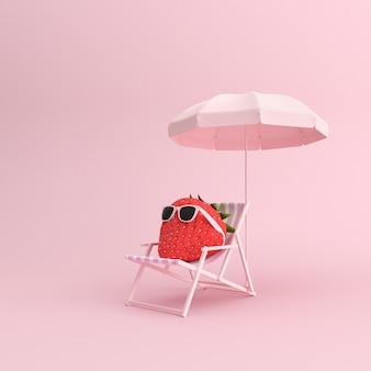 3d render z zewnątrz krzesło i truskawka z okulary na różowym tle