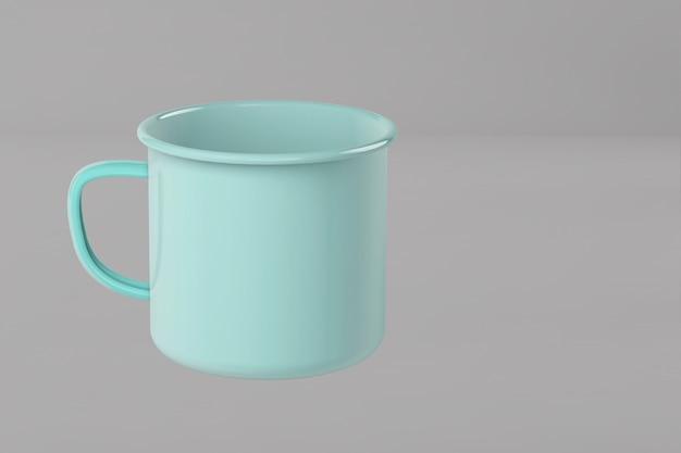 3d render żelaznego niebieskiego kubka na kolorowej powierzchni