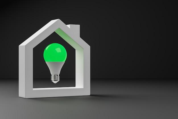 3d render zielona żarówka wewnątrz białego domu na czarnym tle