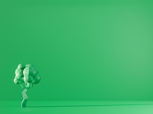 3d render zielonego drzewa na zielonym tle. koncepcyjne zdjęcie monochromatyczne ekologia