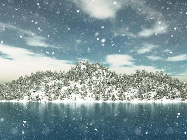 3d render zimowy krajobraz z choinek
