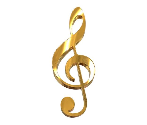 3d render złota symbol klucz wiolinowy na białym tle