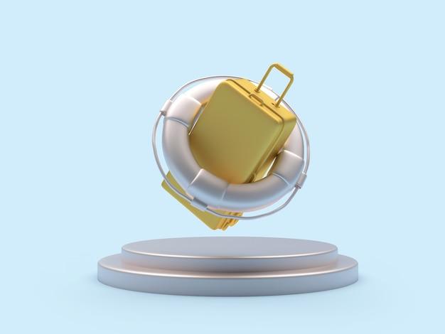 3d render złota walizka wewnątrz srebrnego koła ratunkowego unoszącego się nad podium na jasnoniebieskim tle