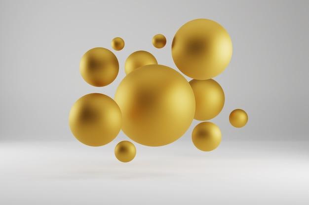 3d render złote i czarne bombki na białym studio.