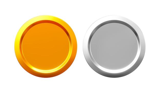 3d render złote i srebrne monety na białym tle