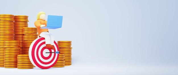 3d render złote monety i kobieta. zakupy online i e-commerce w sieci koncepcja biznesowa. bezpieczna transakcja płatności online za pomocą smartfona.