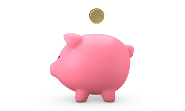 3d render złote monety wpadające w uśmiech różowy skarbonka. koncepcja oszczędzania pieniędzy. na białym tle. widok z boku.
